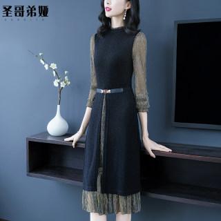 长袖连衣裙2020新款春装女装连衣裙收腰遮肚子显瘦中长款裙大码女装