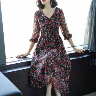 2020新款春装女V领花色收腰显瘦雪纺中长款连衣裙