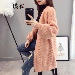 秋季新款 女韩版纯色毛衣中长款宽松休闲针织衫开衫外套