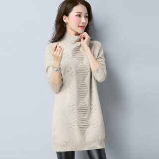 韩版半高领宽松中长款长袖毛衣针织衫