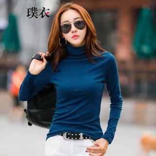 春季新款女韩版简约高领纯色修身显瘦长袖T恤