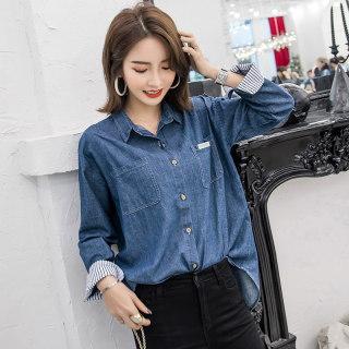 2020春装新款韩版纯色翻领牛仔衬衫女长袖宽松休闲百搭打底外套
