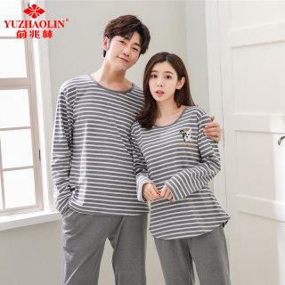 情侣睡衣男女韩版家居服长袖长裤套装
