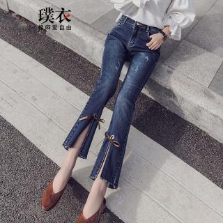 女微喇叭九分裤高腰裤脚绑带韩版显瘦牛仔裤