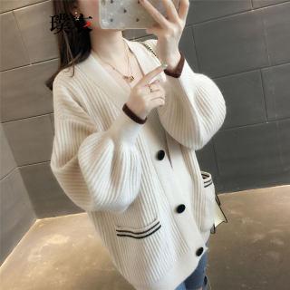 新款女韩版毛衣纯色单排扣修身针织长袖开衫外套