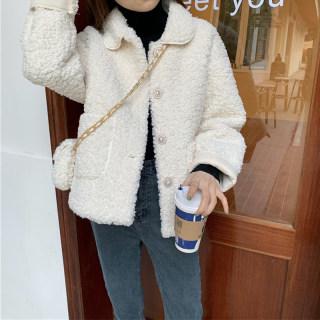 外套女秋冬2020韩版新款宽松休闲百搭网红款小个子羊羔毛棉衣外搭