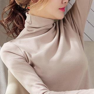 春季新款 女韩版百搭堆堆领套头纯色T恤修身显瘦长袖打底衫