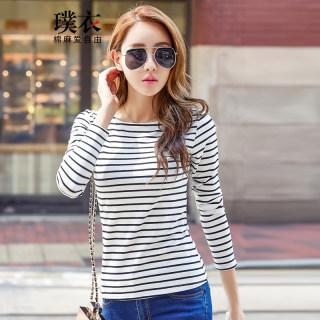 韩版简约时尚条纹修身大码简约打底衫T恤