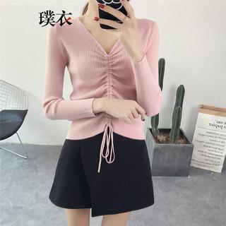 春季新款 女韩版百搭纯色短款毛衣打底衫长袖针织衫