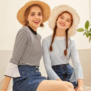 针织衫女2020新款韩版条纹显瘦喇叭袖气质很仙的毛衣女