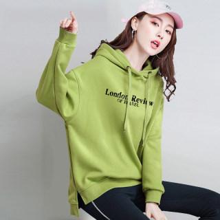 连帽卫衣2020新款女潮ins春秋加绒季宽松薄款韩版上衣绿色超火cec外套
