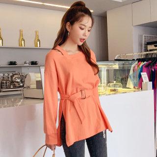 2020秋装新款韩版镂空系带纯色上衣卫衣女
