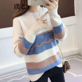 女韩版百搭圆领套头撞色宽松显瘦长袖针织衫