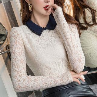 蕾丝衫女长袖2020秋装新款韩版撞色POLO领上衣宽松休闲套头打底衫