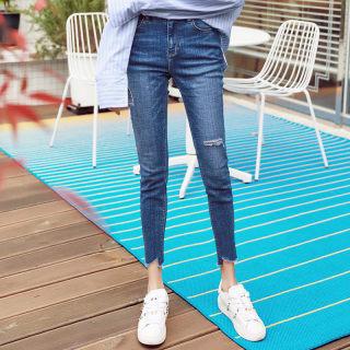 2020秋装新款女装韩版修身九分破洞小脚牛仔裤