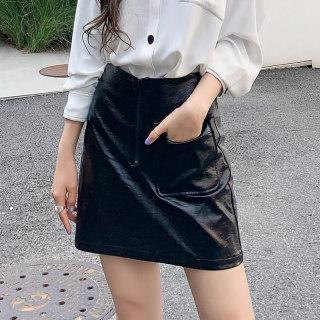 2020冬新款韩版女款宽松休闲潮A字PU短款半身裙R