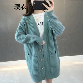 春季新款女韩版毛衣百搭宽松口袋中长款长袖针织开衫外套
