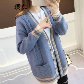 春季新款 女韩版宽松纯色中长款修身针织长袖外套