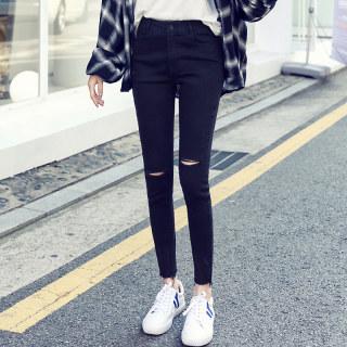 2020韩版女装秋装新款修身破洞小脚牛仔长裤