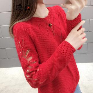 春季新款 女韩版百搭镂空圆领套头毛衣打底衫宽松长袖针织衫