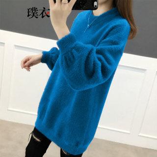 2020秋冬季新款 女韩版仿水貂绒加厚圆领套头毛衣中长款长袖针织衫