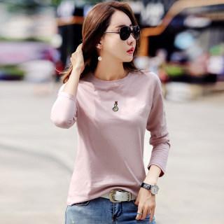 比心纯色t恤衫女长袖2020秋装新款韩版圆领打底衫韩版刺绣上衣女