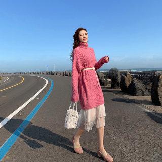 2020新款针织连衣裙秋冬套装裙两件套长裙打底长款毛衣裙过膝配大衣的裙子