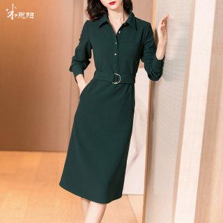 2020秋季新款气质复古中长款衬衫裙系带收腰显瘦长袖连衣裙