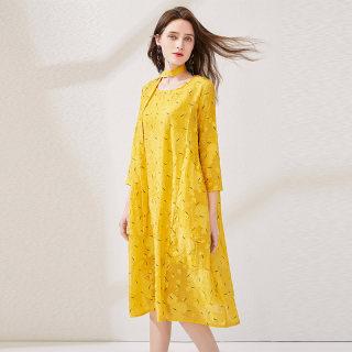 2020新款女春装圆领雪纺印花显瘦中长款气质连衣裙