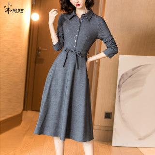 2020秋季新款气质复古减龄休闲灰色系带收腰显瘦高端连衣裙