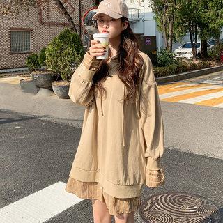 2020韩版女装春新宽松连帽条纹假两件长袖连衣裙