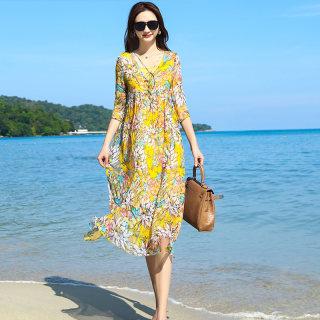 女装2020新款超仙度假风甜美森系过膝飘逸连衣裙