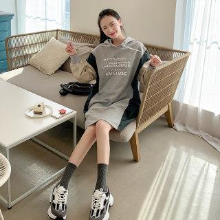 2020韩版女装春新款拼接连帽宽松英伦复古连衣裙
