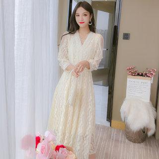 2020春季新款流行女装潮流蕾丝长袖气质时尚连衣裙