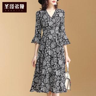 chic碎花裙长款女春2020新款女装时尚气质减龄连衣裙韩版修身