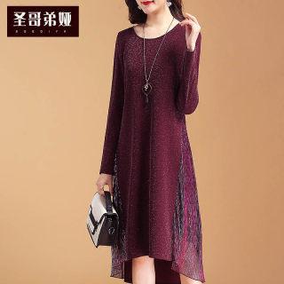 连衣裙女2020春款新款长袖宽松显瘦气质中长款韩版打底裙