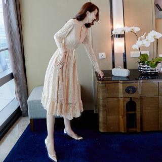 2020春装女新款时尚纯色长袖收腰蕾丝中长连衣裙