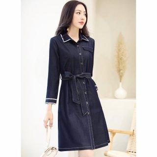 2020春新品时尚百搭撞色收腰显瘦气质中长款女连衣裙