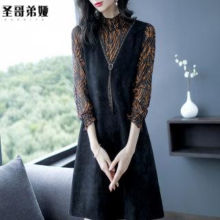 打底连衣裙2020新款女装春气质复古雪纺裙韩版显瘦a字裙