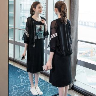 2020春装女时尚休闲宽松适合胖女人穿的套装减龄胖mm遮肉大码女装