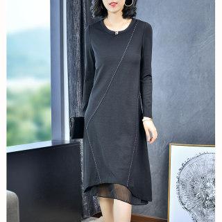 雪纺长袖连衣裙女2020新款宽松显瘦夏时尚中长款气质