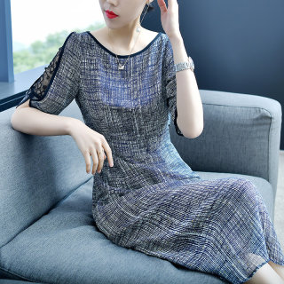 显瘦收腰女装春上新2020新款气质中长款气质灰色雪纺裙子