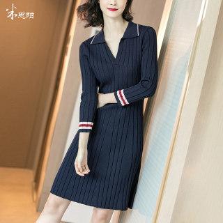 2020春季新款减龄翻领竖条纹藏蓝色修身显瘦长袖针织连衣裙