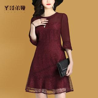 2020 春季新款女装简约圆领气质修身雪纺蕾丝连衣裙长袖