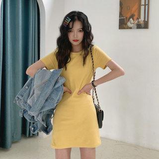 2020春季新款潮流性感气质打底裙 韩版纯色圆领短袖休闲连衣裙