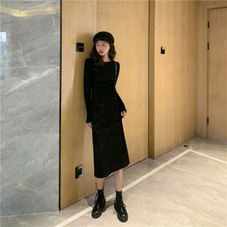 2020春季新款闪亮黑色女士连衣裙 韩版中长款后开叉长袖打底裙