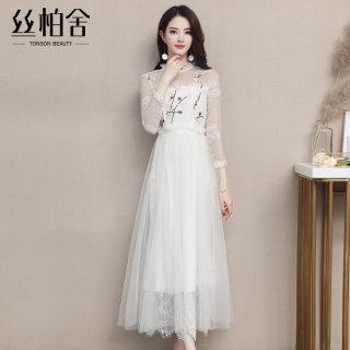 2020春装新款女气质圆领长袖收腰大摆雪纺仙女裙