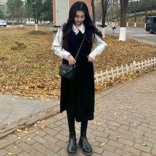 2020春季新款休闲宽松纯色无袖连衣裙 韩版舒适简洁优雅针织裙