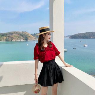 网红裙子女夏两件套夏装2020新款显瘦高腰百褶短裙小个子套装洋气裙子女