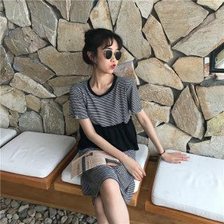 2020春季休闲时尚韩版宽松拼接条纹连衣裙开衩短袖中长款T恤裙子